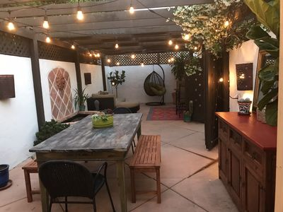 Private outdoor patio with space heater during cooler months
