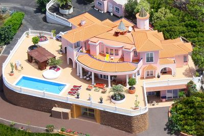 Villa Monaco from the sky with her spacious terrace and panoramic sea views