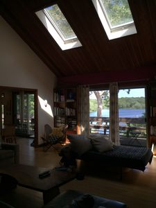Great room with view of water