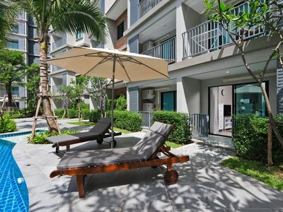 Photo for 1BDR apt with direct access to pool & 250m from NaiYang beach