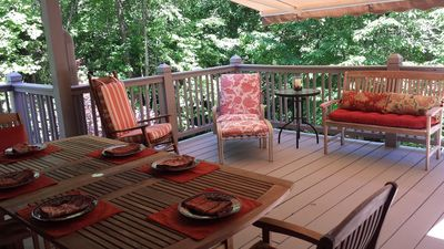 Front porch for sun or shade with retractable Sunsetter awning