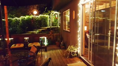 Back deck at night under the quiet peaceful mountain sky. Enjoy clean air.