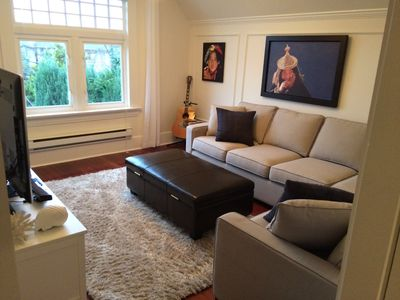 Large living room to relax in after your walk to the beach or Granville Island.
