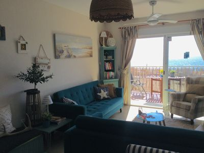 Photo for Beach front apartment topfloor, full sea and mountainsview.100 meter to beach