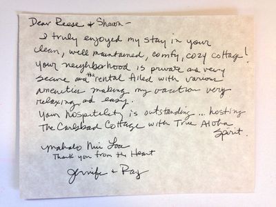Written testimonial from guests visiting from Hawaii.