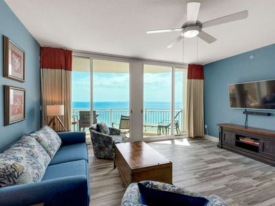 Photo for Free Beach Service! Newly Renovated! 14th floor unit walking distance to Pier Park! Aqua