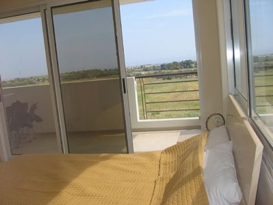 Master bedroom with great views from balcony
