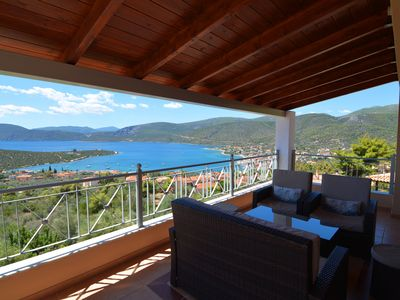 Photo for Luxury Family Villa in Korfos with beautiful sea view