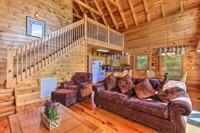 With cathedral ceilings, the cabin is warm and inviting.