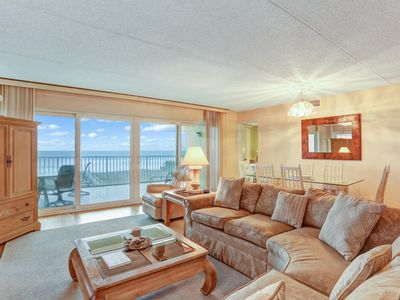 Photo for Oceanfront, 3rd floor, end unit - 3 Beds/2 Baths, sleeps 6.  Tennis, pool and oceanfront balcony.