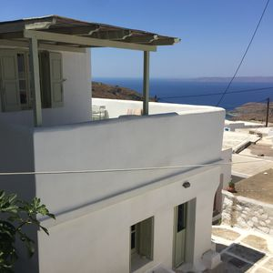 Photo for Amazing sunset view and Aegean sea from the veranda.