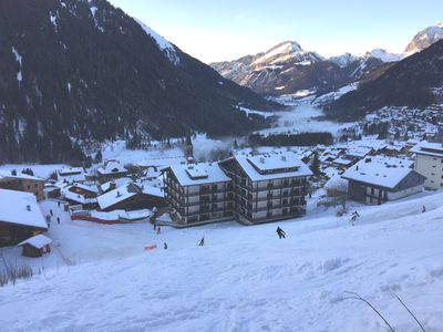 view on the flat (right) and the SuperChatel telecabin (left)