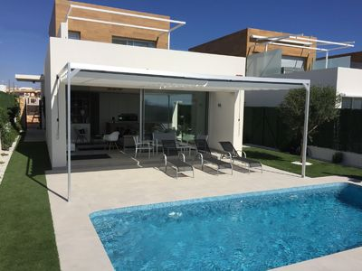 Photo for Splendid villa with stunning sea views near the beaches and golf courses