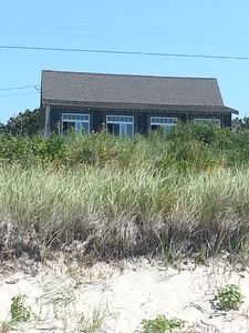 Standing on the beach, in front of the dune, looking up at the house