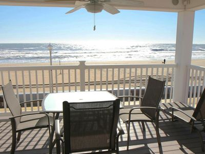 Photo for Directly on the Boardwalk - Gorgeous Sunrises - Includes Umbrella & Beach Chairs!