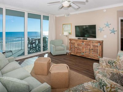 """Photo for Remodeled Gulf-Front 2/2, Slps 8, Blcny, 55""""Smart TV, Pool/Sauna/BBQ, Free Activities-San Carlos 402"""