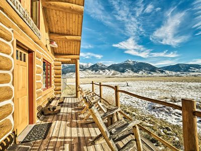 Photo for NEW! 10-Acre Yellowstone Cabin w/Stunning Mtn View