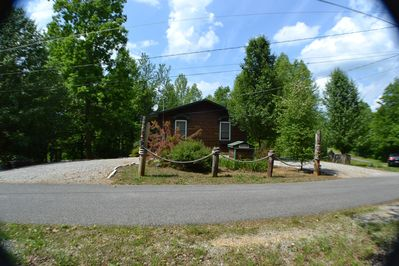 Front of house - circle drive and long parking on sides of house for to 2 boa