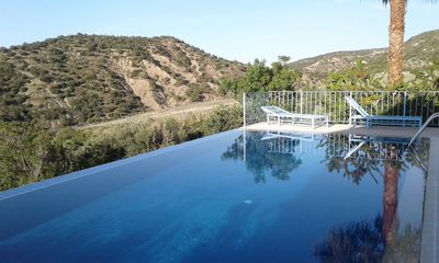 View of Gillham vineyard from the pool terrace. We do provide sunbed cushions!