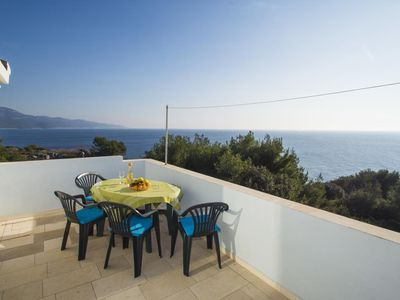 Photo for Two bedroom apartment with terrace and sea view Zavalatica, Korčula (A-247-e)
