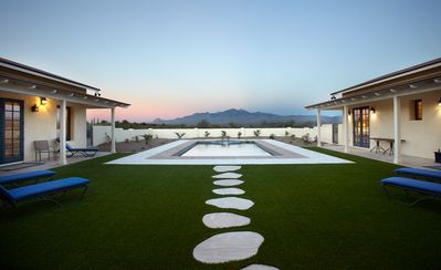 Walled & shaded courtyard looking out to the stunning Santa Rita Mountains.