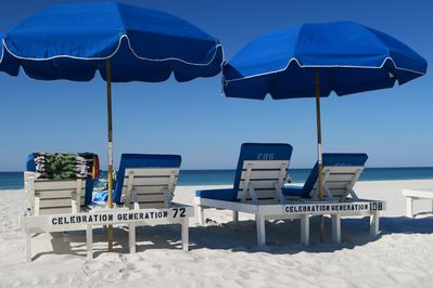 2 Complimentary Sets of 2 Beach Chairs & Umbrellas-March thru mid-October