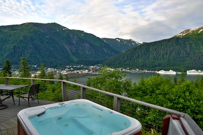 Relax while soaking in the hot tub and enjoying the million dollar view.