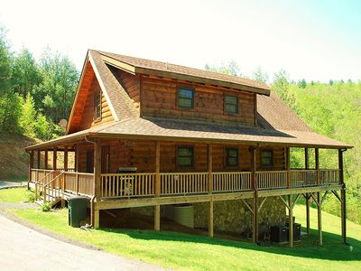 Photo for Custom Log Cabin w/4 BR, Pet Friendly, Hot Tub, WIFI, Covered Deck, Gameroom, fireplace