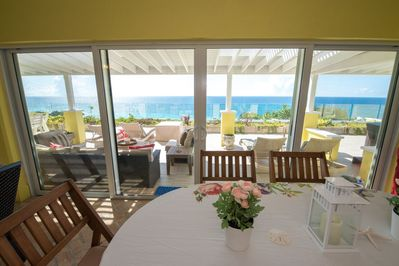 Your views from every room are of the beautiful blues of Horseshoe Bay Beach.