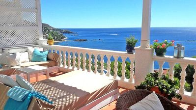 Photo for Stunning sea view apt 2 rooms terrace 5min from the beach free wifi parking