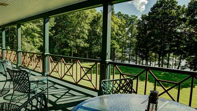 Covered porch spans the front of the estate...Views!