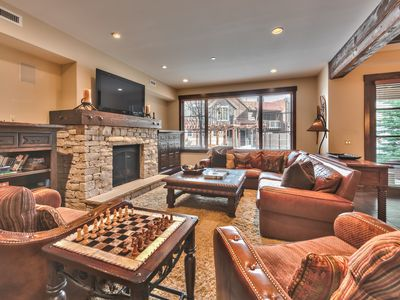 Photo for Ski-in Ski-out. Silver Star Condo. Private hot tub and community fitness center/pool. Steps to Silver Star Chair Lift