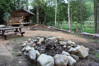 Adirondack lean-to and classic fire pit