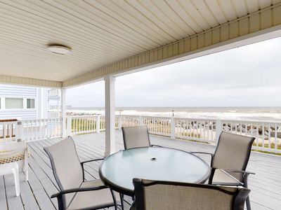 Photo for Oceanfront Cottage, Large Deck Overlooking Beach, Pet Friendly, North End Carolina Beach