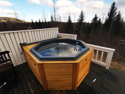 A brand new hot tub on the terrace