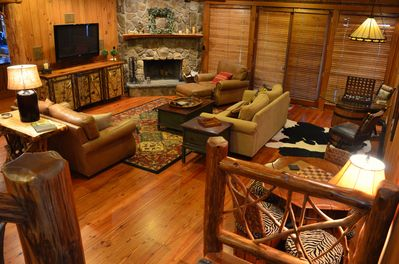 Our master living room,  with a fireplace, 2 game tables and plenty of seating!