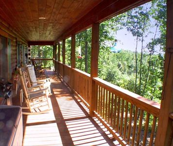 50 foot covered porch with a nice mountain view ... private and quiet !