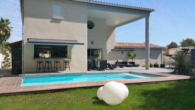 Photo for Beautiful Modern Villa Sport Room Private Pool Balneo Garden Fenced Landscaping