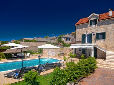 Photo for NEW RENOVATED 100 YEAR OLD STONE VILLA WITH  HEATED POOL  Villa Nikola Solta