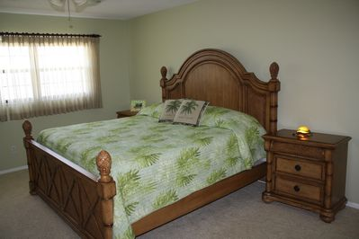Master Bedroom with Ocean View and King Size Bed.