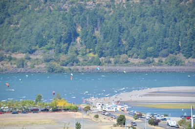 Views of Event site from deck.  Watch wind surfers and kite boarders.