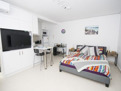 Photo for Elegant and modern studio apartment close to St Kilda beach with WIFI, parking