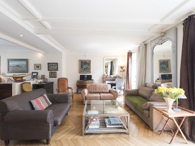 Photo for Bright French style flat with charming balcony, 20 mins to Eiffel Tower (Veeve)