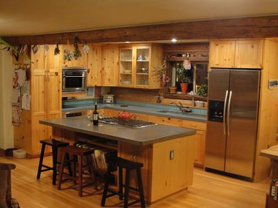 Kitchen, island, and bar