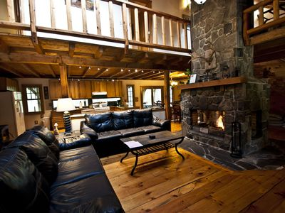 Photo for Gorgeous Log Lodge on 10 Acres--HUGE Fireplace--Borders State Forest--Hot Tub!