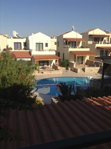 View from first floor rear terrace to pool area