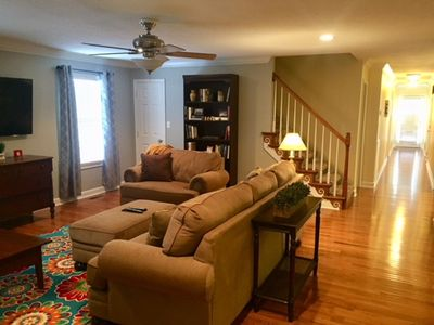 Large family room, dining room and kitchen in open floor plan