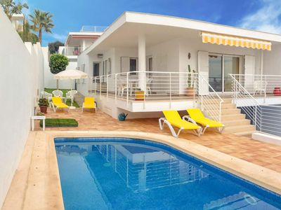 Photo for Villa, walking distance from beach + village, w/ pool, balcony + air con