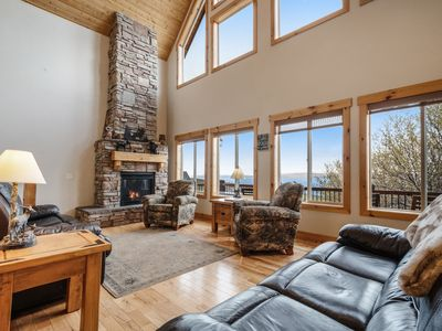 Photo for Lake view cabin w/ Ping-Pong/pool tables, home theater & shared pool/tennis!