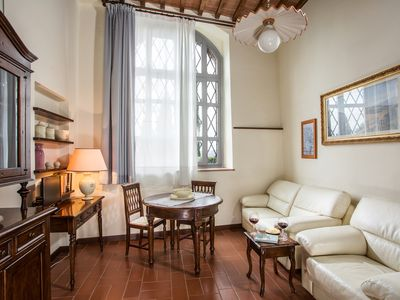 Photo for Romantic apartment in historical building with great views near San Gimignano